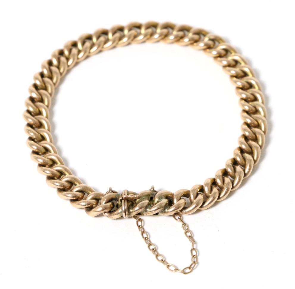 Lot 4 - A curb link bracelet, 18.5cm long approximately, stamped '15'