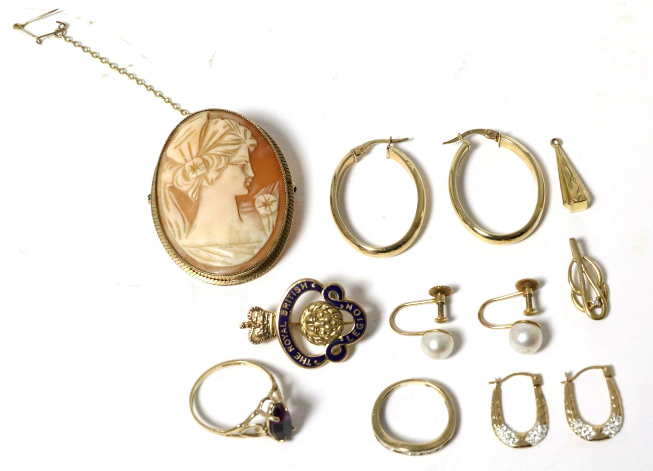 Lot 6 - A 9 carat gold enamel Royal British Legion brooch; a shell cameo brooch in a 9 carat gold...