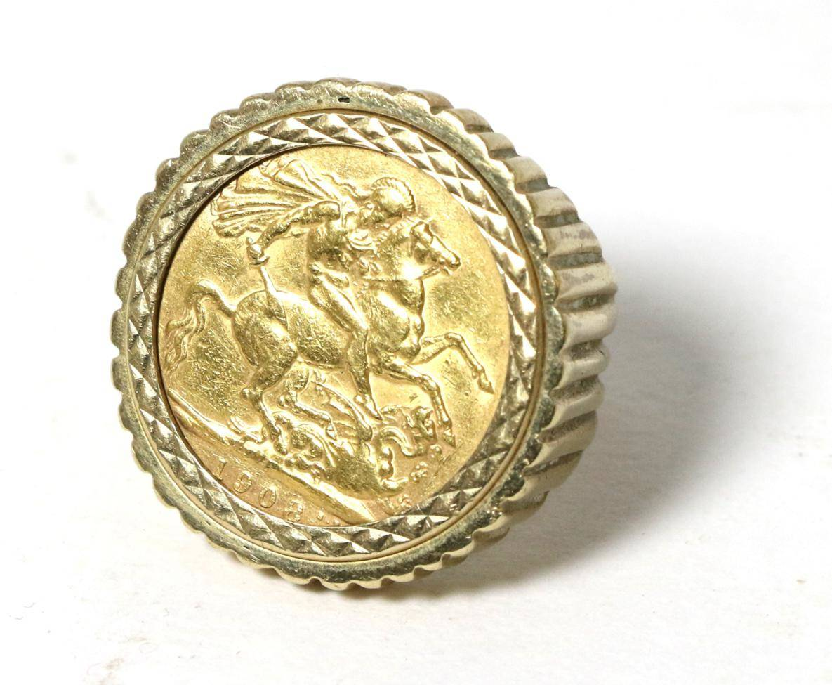 Lot 7 - An Edward VII 1908 gold sovereign, loose mount in a 9 carat gold shank as a ring, finger size M