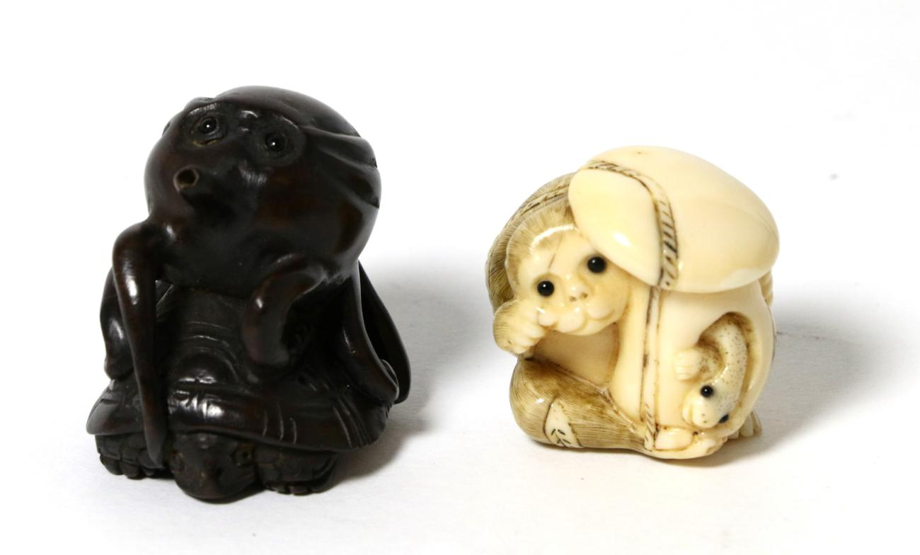 Lot 9 - A late 19th century Japanese netsuke signed and a netsuke modelled as an octopus on a turtles back