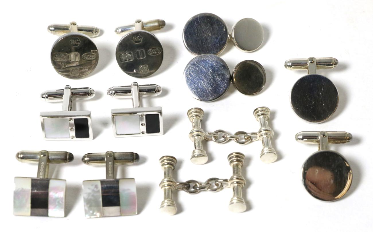 Lot 31 - Six pairs of silver cufflinks, including a pair inset with mother-of-pearl, onyx and three...
