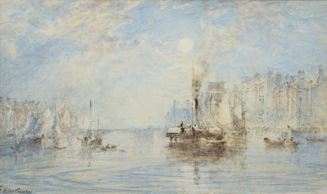Lot 5 - George Weatherill (1810-1890) The Lower Harbour, Whitby, by moonlight with a steam tug and...