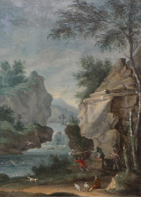 Lot 30 - Follower of Louis Gabriel Moreau (1740-1806) French  Hunting party at the riverside  Oil on...