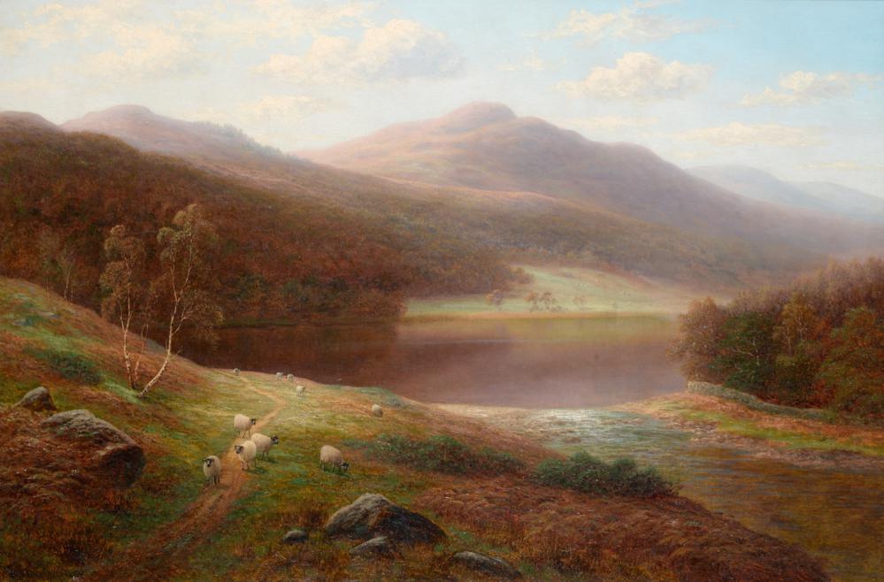"Lot 37 - William Mellor (1851-1931)   ""Grasmere Lake from Langrigg Side, Westmorland ""  Signed,..."