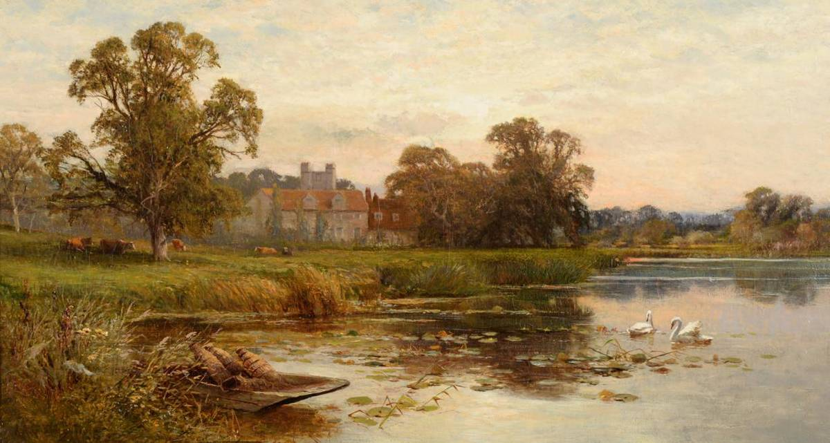 """Lot 38 - Alfred Augustus Glendening (1840-1921)   """"Bisham on Thames """"  Signed and dated 1878, oil on canvas"""