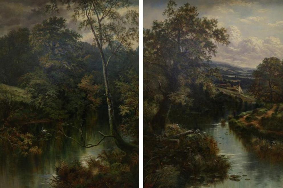 Lot 44 - Henry John Livens (1848-1943)  River landscape with cottage A river landscape Signed, oil on...