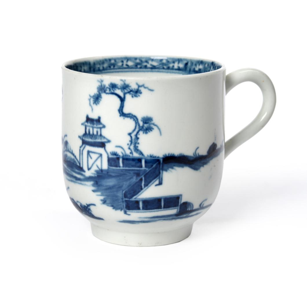 """Lot 4 - A Worcester Porcelain Large Coffee Cup, circa 1760, painted in underglaze blue with the  """"Solid..."""