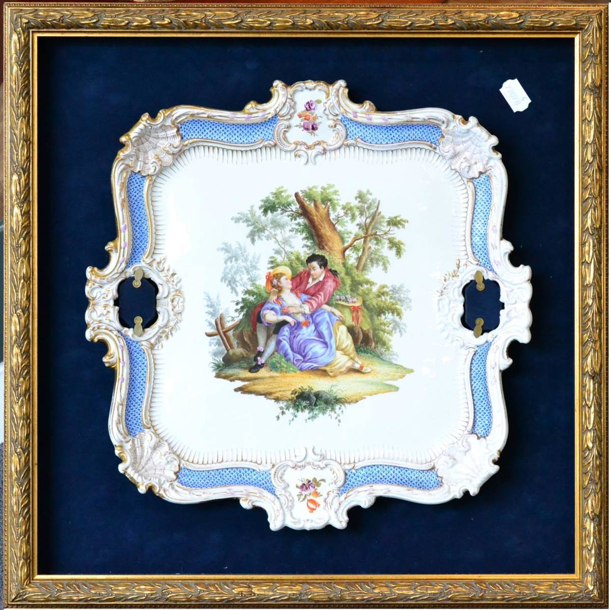 Lot 20 - A Meissen Porcelain Twin-Handled Tray, mid 19th century, of shell and scrolled moulded form,...