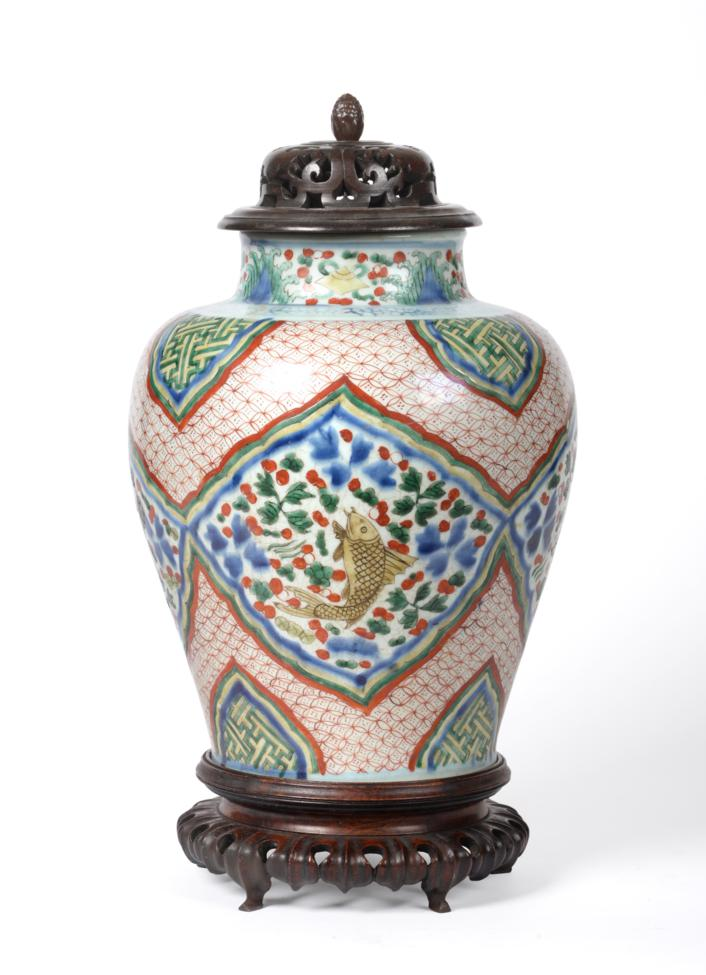 Lot 36 - A Chinese Wucai Porcelain Jar, Chinese Transitional period, 1620-1663, of baluster form,...