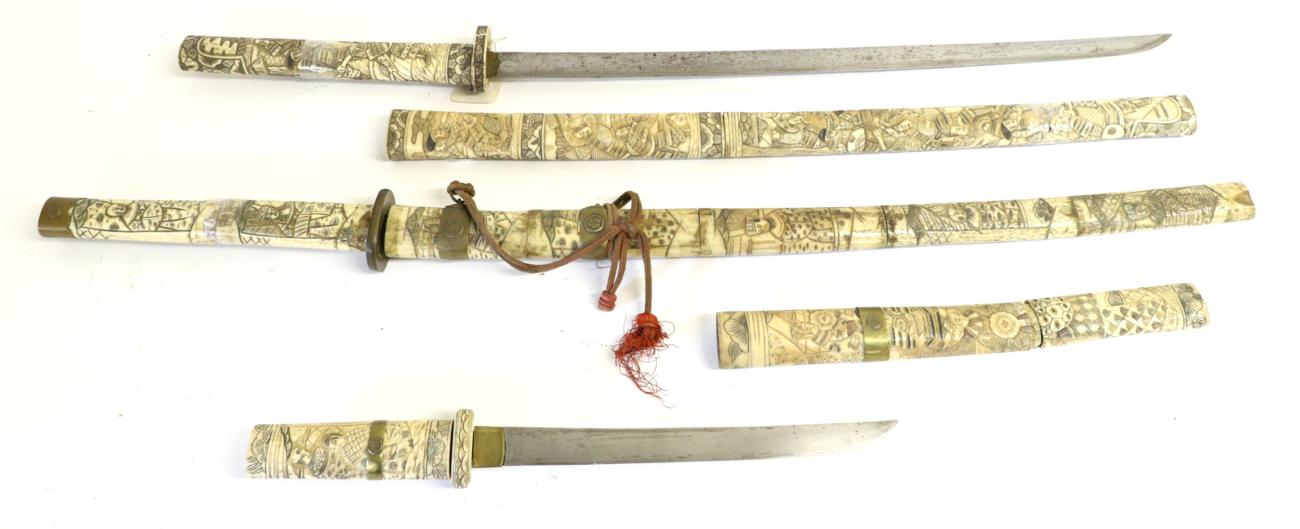 Lot 13 - A Late 19th Century Japanese Wakizashi, with 54cm steel blade, the sectional bone hilt and scabbard