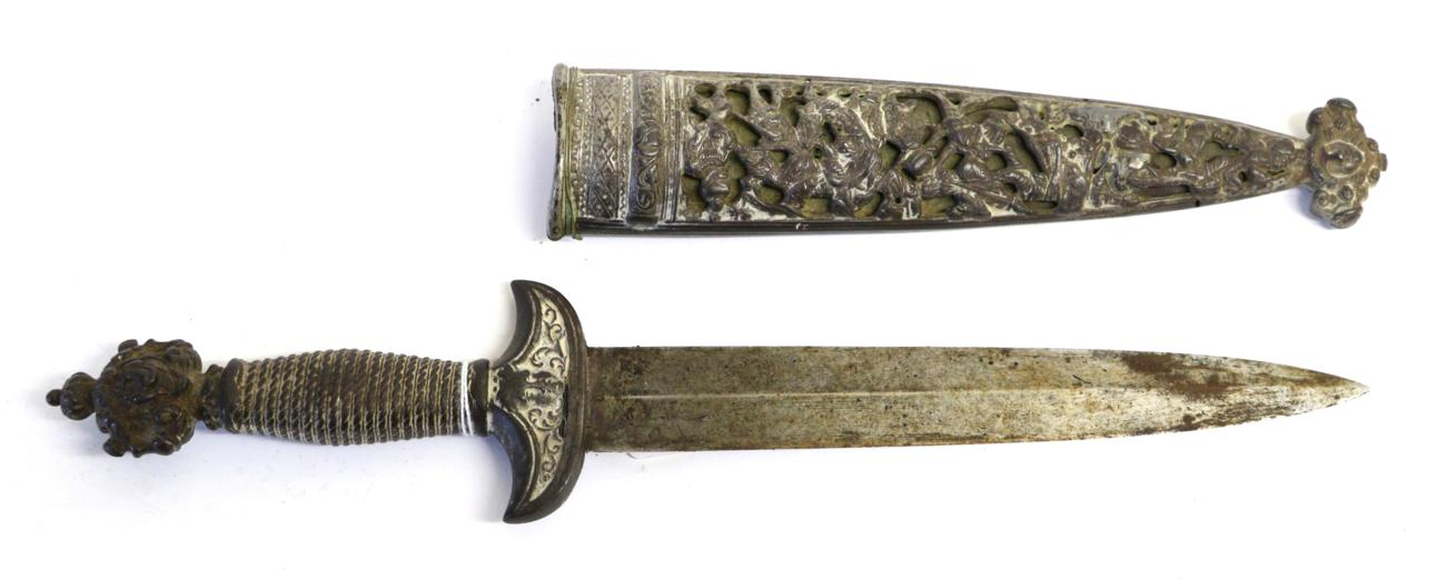 Lot 26 - A 19th Century Swiss Dagger, with plain 23cm double edge leaf shape steel blade, the solid iron...
