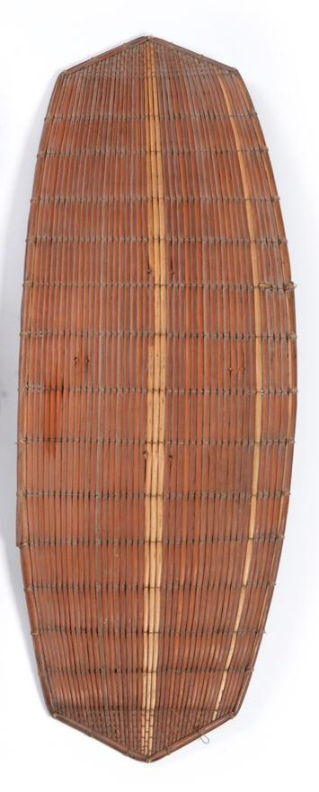 Lot 43 - A 19th Century Azande Slaver's Shield, Congo, constructed of split cane with basket weave...