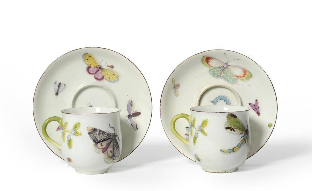 Lot 18 - A Pair of Chelsea Porcelain Coffee Cups and Trembleuse Saucers, en suite to the preceding lot