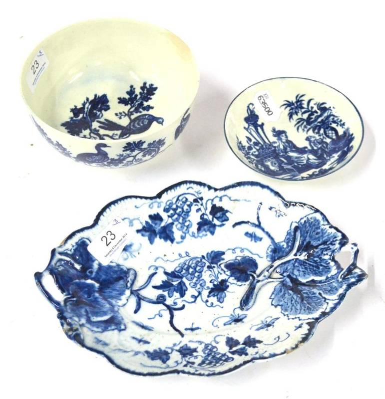 Lot 23 - An English Porcelain Lobed Oval Dish, probably Isleworth, circa 1775, painted in underglaze...