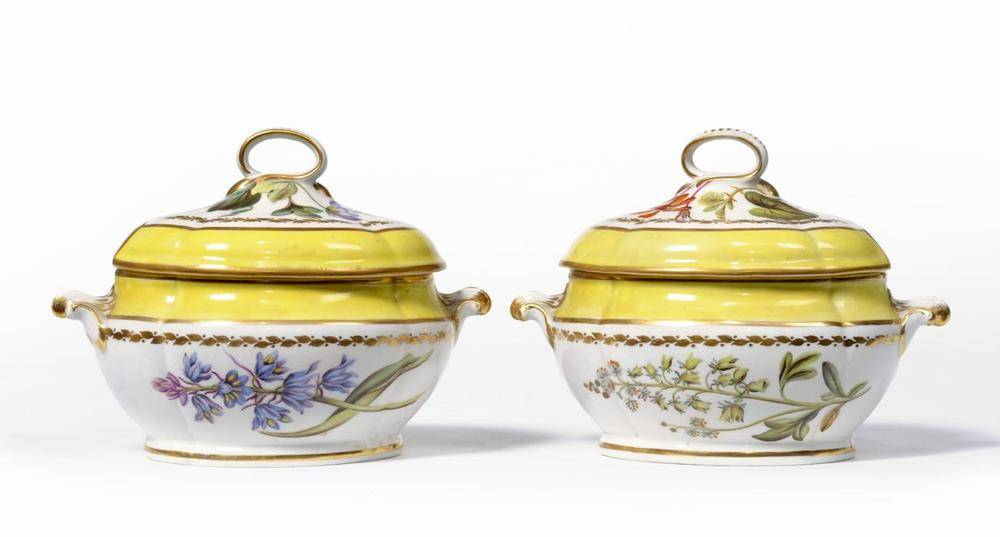 Lot 35 - A Pair of Derby Porcelain Sauce Tureens and Covers, en suite to the preceding lot, painted with...