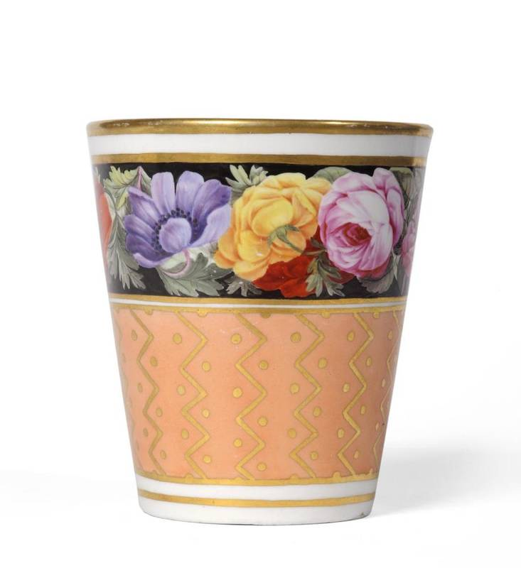 Lot 40 - A Flight & Barr Worcester Porcelain Beaker, circa 1790, painted with a broad foliate border...
