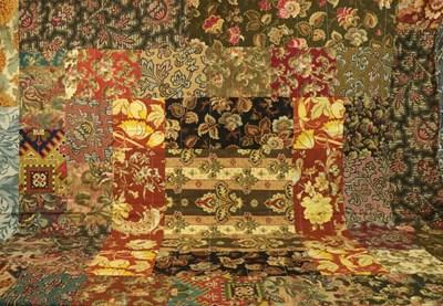 Lot 2014 - Art Nouveau Cotton Patchwork Bed Cover,...