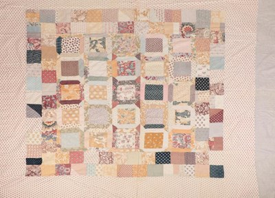 Lot 2021 - 19th Century Patchwork Cover, appliqued with...