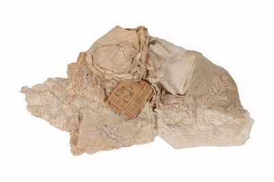 Lot 2032 - Assorted Lace and Lace Mounted Costume...