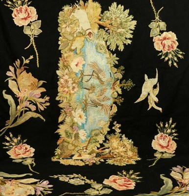 Lot 2055 - Late 19th Century Wall Panel, embroidered with...
