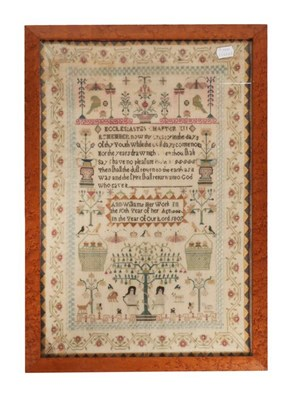 Lot 2058 - Adam and Eve Sampler Worked by Ann Williams,...