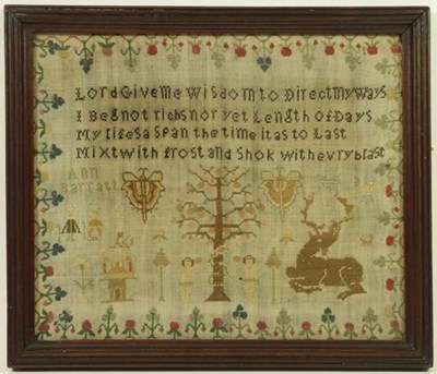 Lot 2059 - A Small Victorian Adam and Eve Sampler Worked...