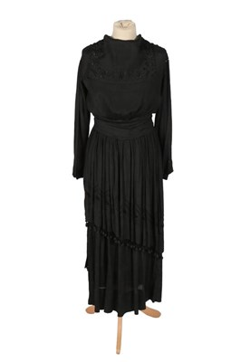 Lot 2066 - Edwardian Black Silk Dress, with long sleeves,...