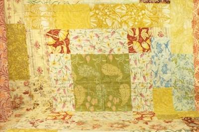 Lot 2006 - Art Nouveau Cotton Patchwork Bed Cover,...