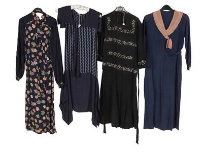 Lot 2072 - Circa 1920-1930s Day Dresses, comprising a...