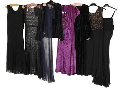 Lot 2073 - Circa 1930s Evening Dresses, comprising a blue...
