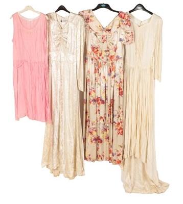 Lot 2075 - Circa 1920-50s Costume, comprising a pink silk...