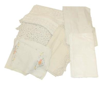 Lot 2008 - Assorted White Linen Damask Cloths, cream silk...