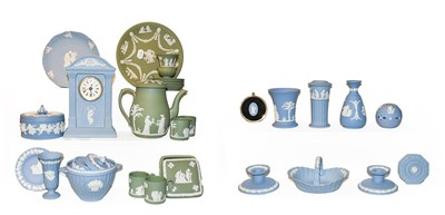 Lot 1 - A quantity of Wedgwood Jasperware in blue and...