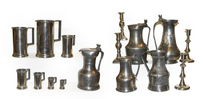 Lot 12 - A quantity of 18th century and later pewter...