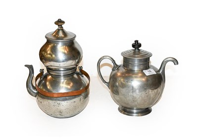 Lot 18 - A Royle's patent pewter self pouring teapot,...