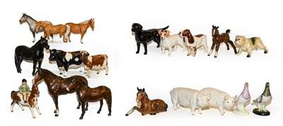 Lot 32 - Beswick including Fell pony, Exmoor pony, girl...