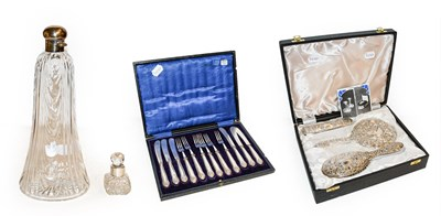 Lot 33 - Cased silver three-piece dressing table set, a...