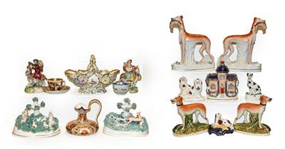 Lot 36 - Two trays of Staffordshire and other English...