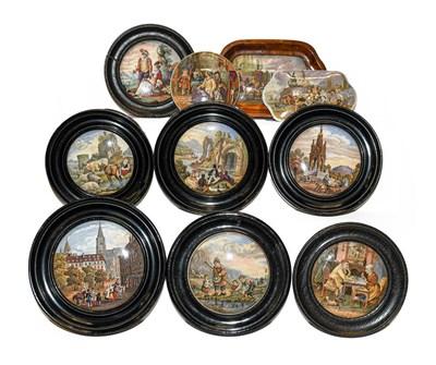 Lot 42 - A quantity of 19th century Prattware pot lids...