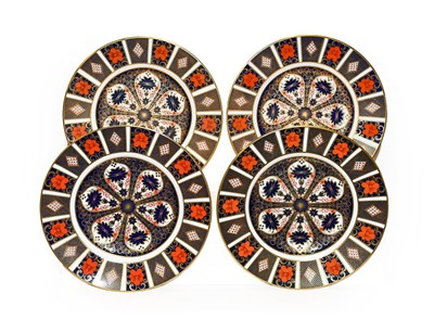 Lot 49 - Four Royal Crown Derby Imari plates decorated...