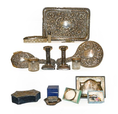 Lot 53 - A tray of assorted silver and costume...