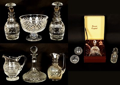 Lot 71 - A pair of cut glass decanters with silver...