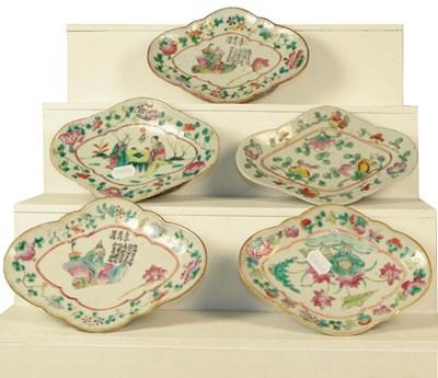 Lot 76 - Five Chinese famille verte quatrefoil dishes,...