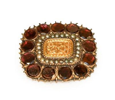 Lot 88 - A 19th century garnet and split pearl brooch,...