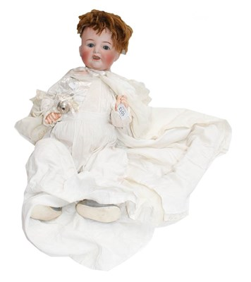 Lot 1013 - A Simon & Halbig 126 doll in a white cotton...