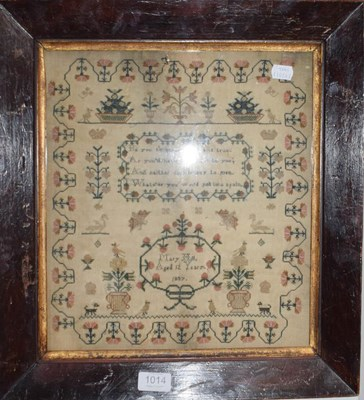 Lot 1014 - A sampler work by Mary Hill Aged 12 Years...