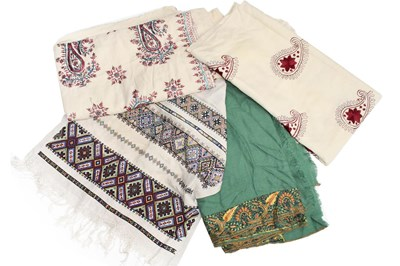 Lot 1021 - A large silk paisley shawl, a green wool shawl...