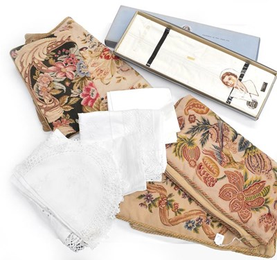 Lot 1036 - Assorted white table and bed linen, including...