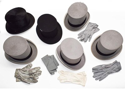 Lot 1004 - Harrods black silk top hat, Dulcis Make black...