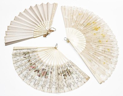 Lot 1065 - Two similar 19th century ivory fans with...